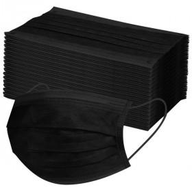 Medizinischer Mundschutz schwarz 3-lagig 50 St.